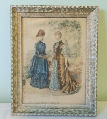 Vintage Framed La Mode Illustree Victorian Fashion Color Print Lithograph