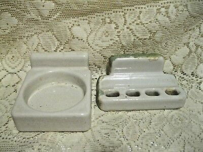 Vintage White Porcelain Toothbrush & Cup Holder Wall Mount