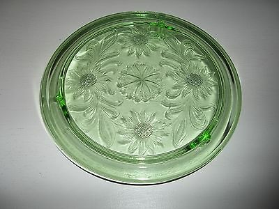 "Vintage Jeanette Green Glass Sunflower 10"" Footed Cake Plate"