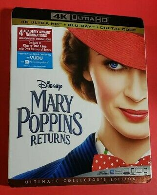 Mary Poppins Returns (4K UHD+Blu-Ray+NODigital Code) Like New