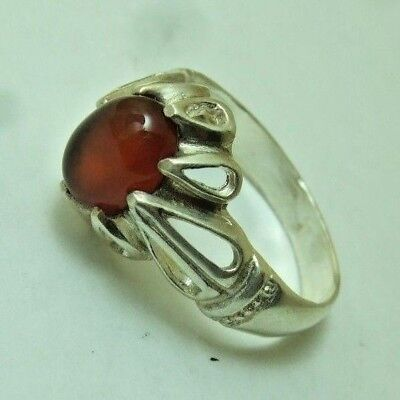 Natural Vintage Yemen Persian Carnelian Aqeeq Silver ring 3.69-gm us:10.75