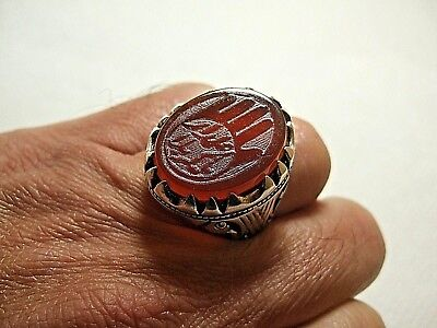 Natural Persian Yemen carnelian Engraved Men ring 14-gm sizes us:10