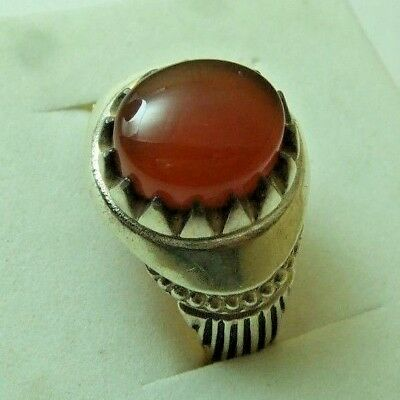 Natural Yemen Persian Carnelian Aqeeq 925 silver Ring 6 gm sizes us: 10.5