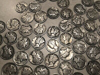 Collectible Mercury Silver Dimes $10 Face Value Lot of msd 100