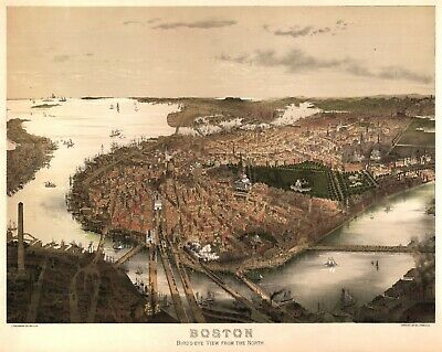 A4 Reprint of Old Maps Early 1900S Boston Birds Eye View From North