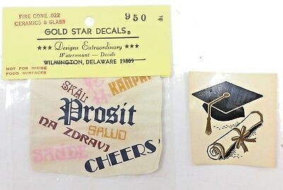 Vtg Cheers Graduation College School Decoupage Water Slide Ceramic Decal 1950s