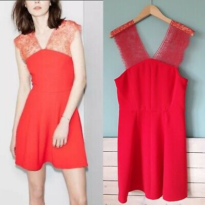 93cb3037583 The Kooples BNWT€245 Red Crepe Lace Cocktail Dress Fit & Flare Size XL 14