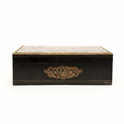 Box, French Boulle Style Brass Inlaid, Circa 1880