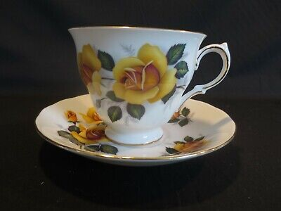 Vintage Queen Anne Yellow Rose Bone China Cup & Saucer Set England  Pattern 8430