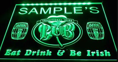 Personalised Irish Bar LED Neon Sign Home Light Up Drink Pub Custom Name