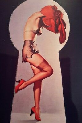 """VINTAGE PIN UP GIL ELVGREN KEYHOLE 7x5"""" PICTURE PRINT WALL ART"""