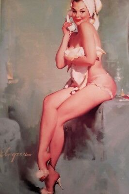 """VINTAGE PIN UP GIL ELVGREN TOWEL 7x5"""" PICTURE PRINT WALL ART"""
