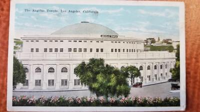 Angelus Temple Los Angeles California Franklin 1 Cent Stamp Ad Postcard