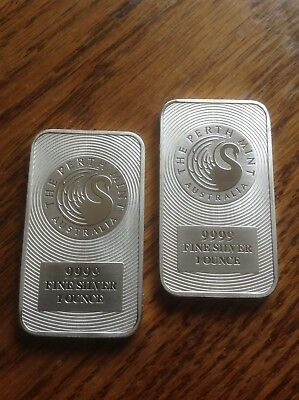 Lot of 2 Australian Perth Mint 1oz .9999 Fine Silver Kangaroo Bars Free Shipping