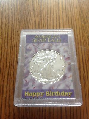 2019 American Silver Eagle Happy Birthday Case 1oz .999 Fine Silver BU Free Ship