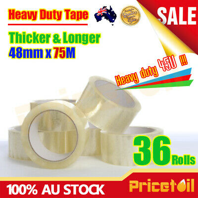 36 Rolls Heavy Duty Packing Packaging Sticky Sealing Tape Box Carton 75m 48mm