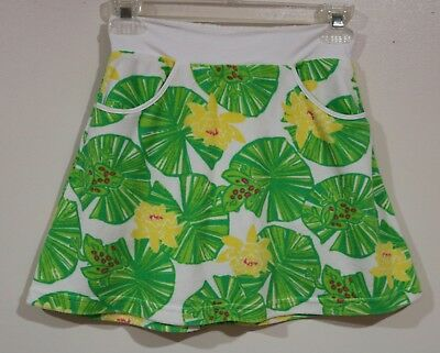 6c08fd8755 EUC Lilly Pulitzer Girls White Lily Pad Frogs Swim Cover Up Skort Size 8-10