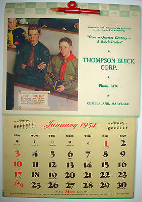 Boy Scout NORMAN ROCKWELL 1954 Calendar and Envelope – Thompson Buick Corp., MD