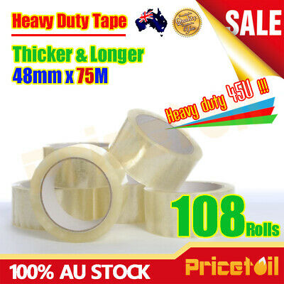 108 Rolls Heavy Duty Packing Packaging Sticky Sealing Tape Box Carton 75m 48mm