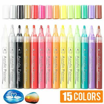 15 Bright Colors 3mm Round Tip Water-Based Permanent Acrylic Paint Markers Set