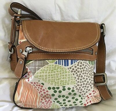 57882221acff9 FOSSIL LANE CROSSBODY Blue White Multi Leather & Fabric Canvas Body ...