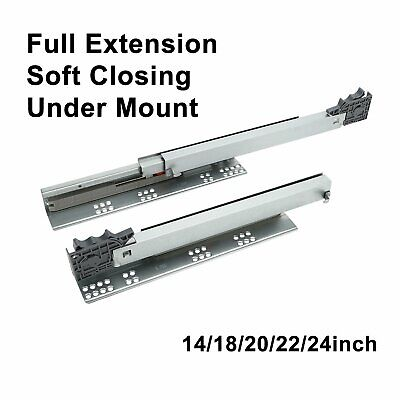 "Full Extension Undermount Drawer Slides Soft-Close 14"" 18"" 20"" 22"" 24"" PAIR"