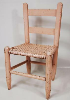 Antique Child Size Ladder Back Cane Chair