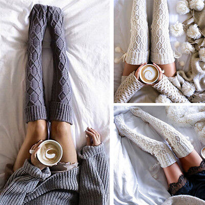 Winter Cable Knit Over Knee Long Boot Thigh-High Warm Socks Leggings Cozy Socks