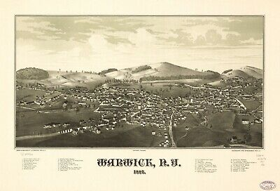 A4 Reprint of American Cities Towns States Map Warwick New York