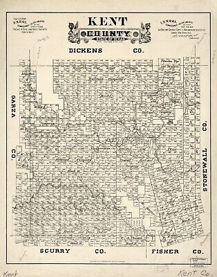 A4 Reprint of American Cities Towns States Map Kent County Texas