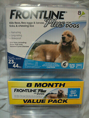 FRONTLINE PLUS DOGS 23-44Lbs FLEA & TICK CONTROL 8 DOSES NEW, SEALED