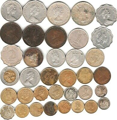 36 different world coins from HONG KONG some silver some scarce