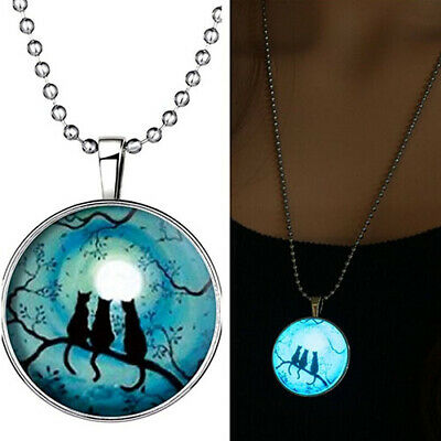 Retro Three Cats Glow In The Dark Pendant Charm Necklace Steampunk Jewelry Gift