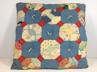 Throw Pillow Antique Textile Folk Art Patchwork Quilt Scrap Square Country