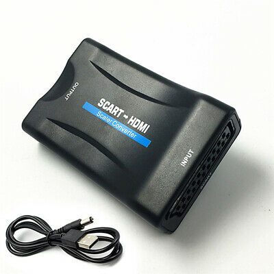 1080P SCART to HDMI Video Audio Scaler Converter Adapter + USB Cable for HD TV