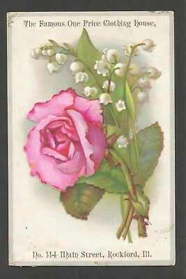 """Victorian Trade Card - """"Famous One Price Clothing House, Rockford"""" Late 1800's"""