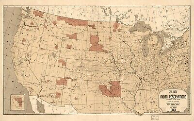 A4 Reprint of Indian Tribes North America Map Northern Usa