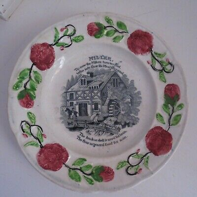 Antique children's plate miller rhyme pearl ware c 1830-40s