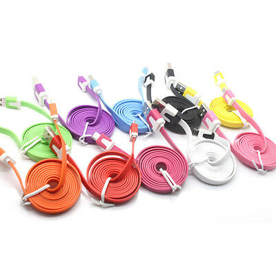 1M/3ft Flat Noodle Micro USB Charger Sync Data Cable for Android Mobile sx10