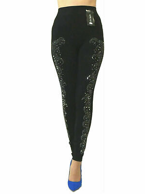 Damen Leggings Leggins Hose Bauchweg Jeggings Treggings  Strass  Gr 36-42