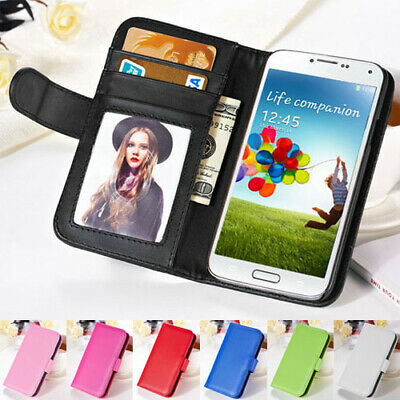 Samsung Galaxy Note 345 Premium Flip Wallet Photo ID Case Plain PU Leather Cover