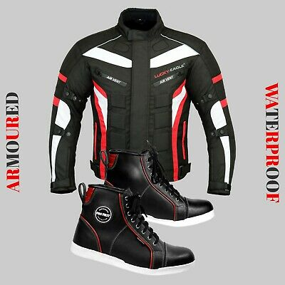 Motorcycle Racing Jacket Waterproof Coat Leather Shoes Adventure Touring Boots