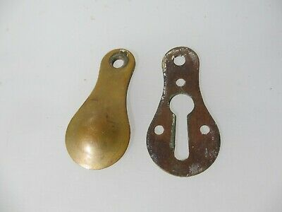 Vintage Brass Keyhole Cover Escutcheon Plate Antique Old Door Hardware Bronze