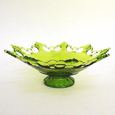 "Westmoreland Ring & Petal Green Glass Pedestal Bowl 12.5"" Elegant Lace Rim"