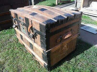 Antique Pine/Leather Domed Top Steamer Trunk, Blanket Chest,