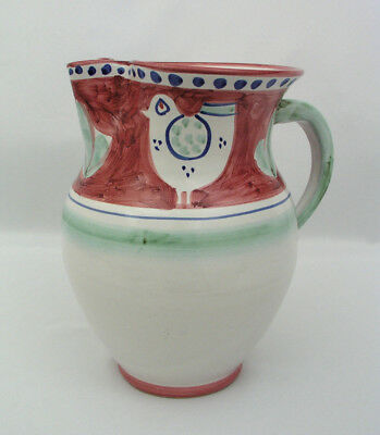 "Solimene Vietri - 8 1/2"" Pitcher - Chicken Design - Hand Painted - Made In Italy"