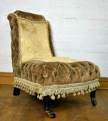 Antique Victorian buttoned nursing chair / bedroom chair / hall chair