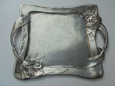 """Old Antique Pewter Art Nouveau Style Lg Handled Tray w Tulips 19"""" Marked"""