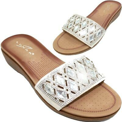 JLH075 Lunar Tulip Low Flat Heel Padded Insole Pearl Toe Post Thong Sandals