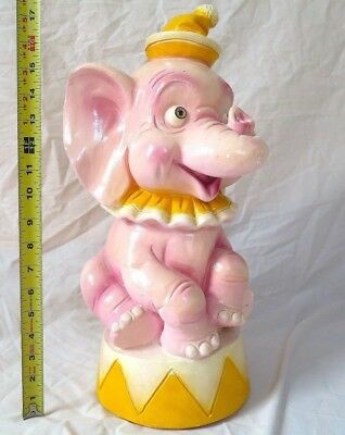 """vintage chalkware JUMBO BABY CIRCUS ELEPHANT PIGGY BANK 18"""" A to Z Productions"""